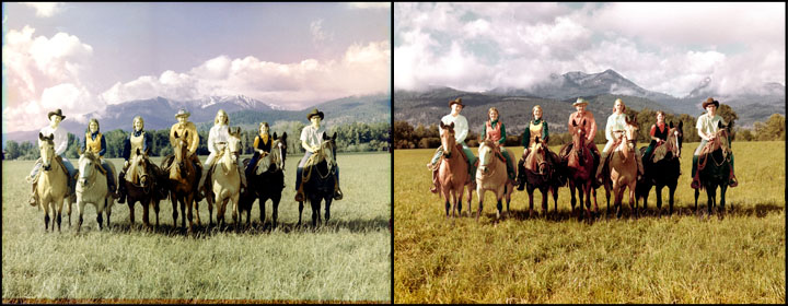Family on horseback photo restoration