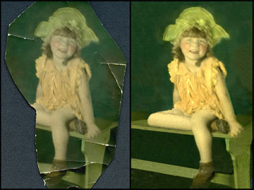 Oil-colored portrait restoration