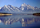 Teton Mountain relection in Jackson Lake